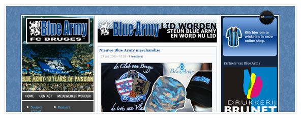 Website Blue Army - Fanclub Club Brugge